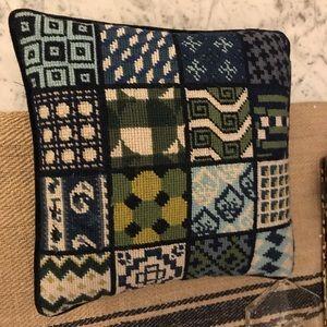 Tory Burch needlepoint pillow 12x12 EUC